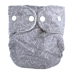 Moderne Stofble fra WeeCare i grå farve med Leaves print.